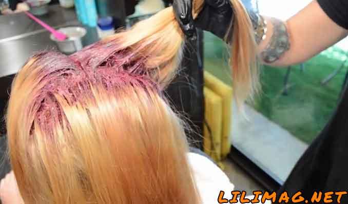 آموزش ترکیب رنگ موی بادمجانی با دکلره