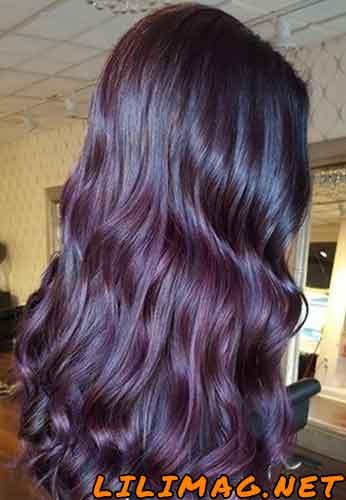 عکس رنگ موی بادمجانی متوسط