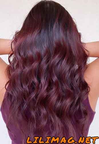 عکس ترکیب رنگ موی بادمجانی و شرابی