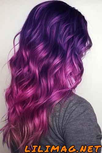 عکس ترکیب رنگ موی بادمجانی صورتی
