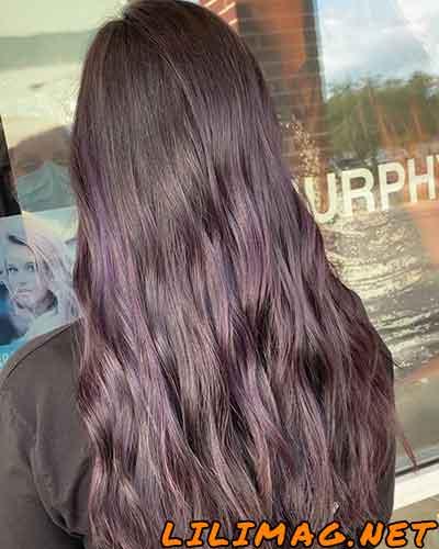 عکس رنگ موی بادمجانی رو موی مشکی