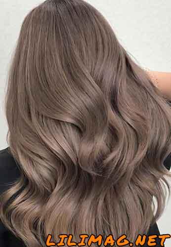 عکس نتیجهی ترکیب رنگ مو فندقی و دودی