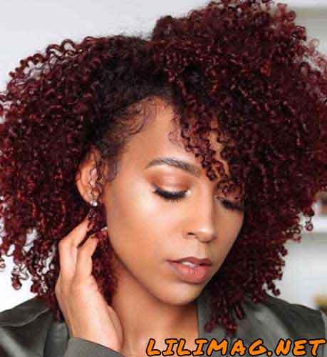 مدل رنگ مو قهوه ایی عنابی بلوطی