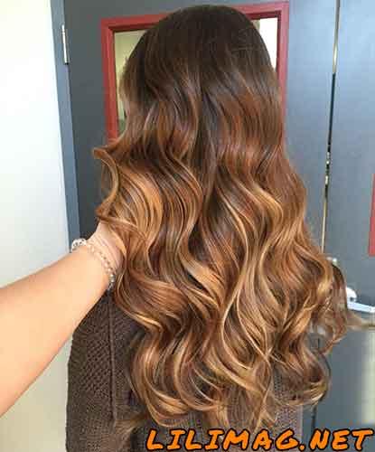 عکس رنگ موی دارچینی کاراملی