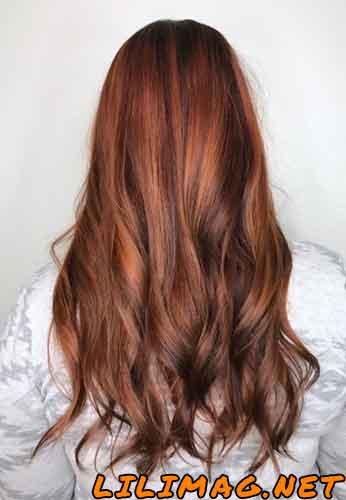 عکس رنگ موی مسی دارچینی بدون دکلره