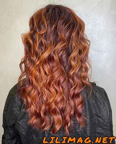 عکس رنگ موی مسی هایلایت