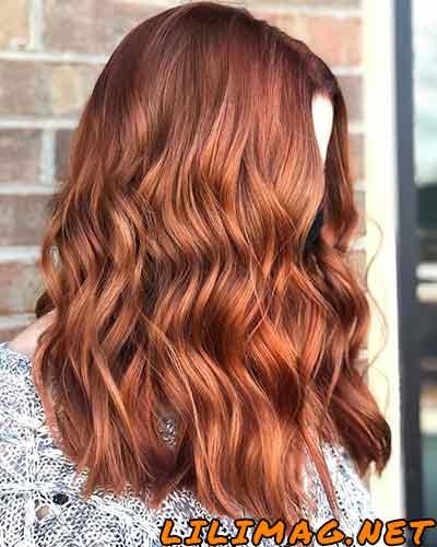 عکس رنگ موی مسی نارنجی با هایلایت