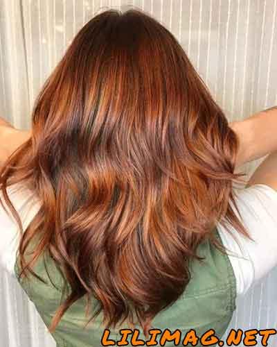 عکس رنگ موی مسی طلایی تیره شکلاتی