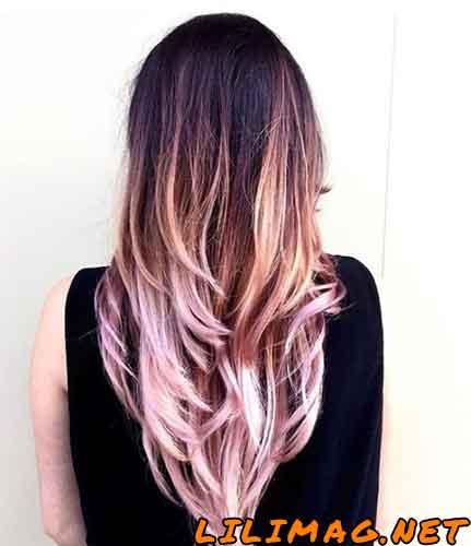 عکس ترکیب رنگ موی یاسی مسی