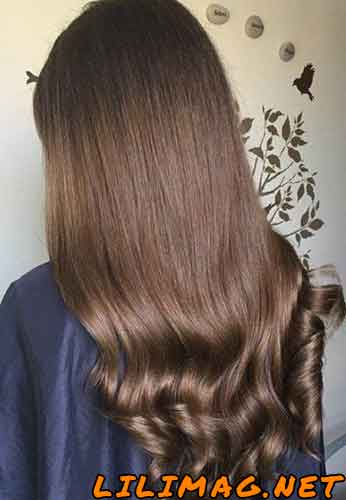 عکس رنگ مو شکلاتی روشن با دکلره