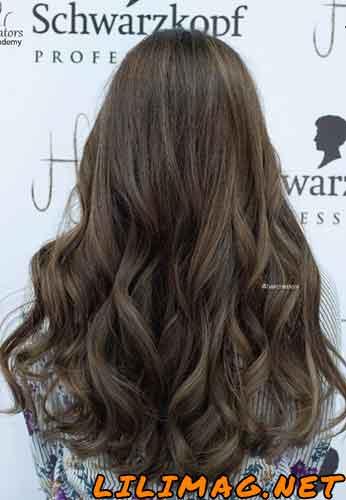 عکس رنگ موی شکلاتی زیتونی روشن