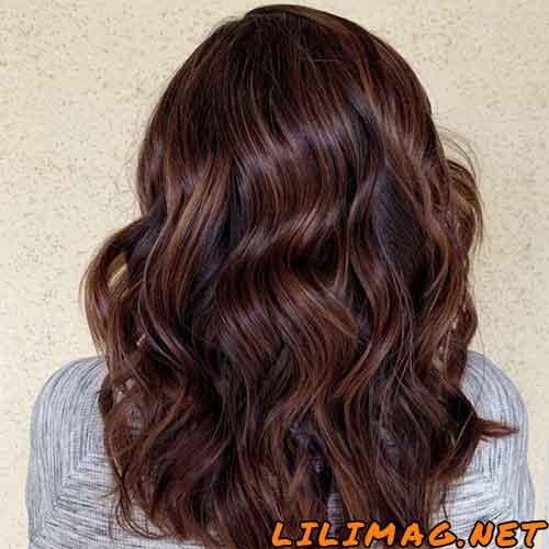 عکس هایلایت رنگ موی شکلاتی مسی