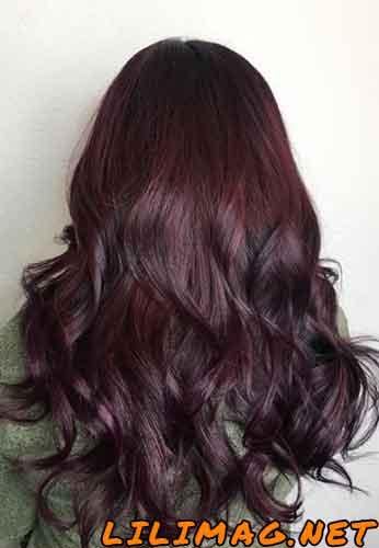 عکس رنگ موی شرابی تیره روی موی مشکی