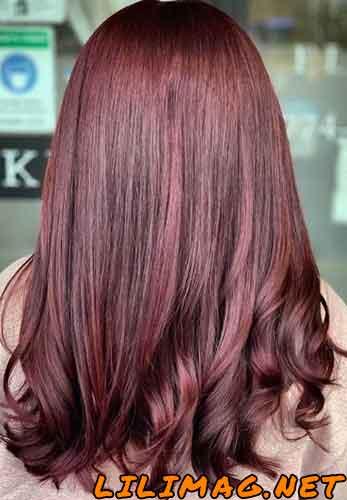 عکس رنگ موی شرابی ماهگونی