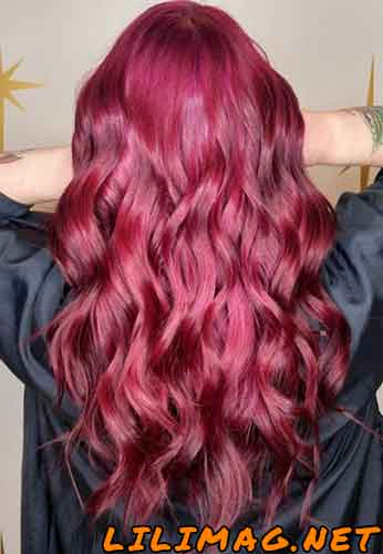ترکیب رنگ موی شرابی ارغوانی بدون دکلره