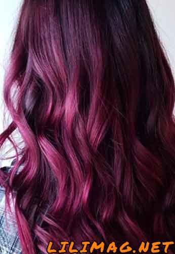 عکس رنگ موی شرابی یاسی صورتی