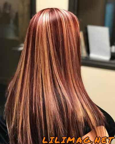 عکس رنگ موی شرابی طلایی